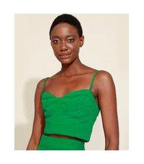 top cropped feminino mindset corset alça fina decote princesa verde