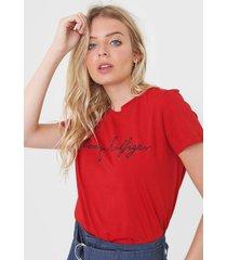 camiseta tommy hilfiger graphic vermelha - vermelho - feminino - algodã£o - dafiti