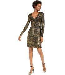 inc metallic-print sweater dress, created for macy's