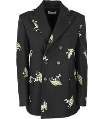 red valentino blazer with a may lily jacquard motif