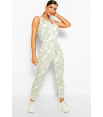 tie dye ribbed sleeveless jumpsuit, sage