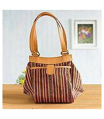 leather accented wool blend handle handbag, 'voyage in the andes' (peru)
