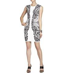 konnie embroidered-filigree diamond jacquard dress