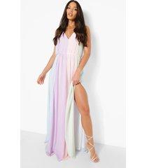 tall colour block maxi jurk, pastel pink