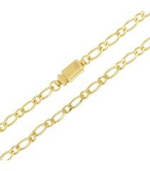 corrente modelo italiana fígaro tudo jóias elo 1x1folheada a ouro 18k dourada