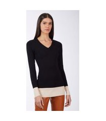 blusa de tricot bicolor punho duplo preto
