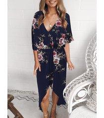 azul marino estampado floral al azar midi vestido
