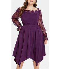 elastic waist plus size crochet lace knee length dress
