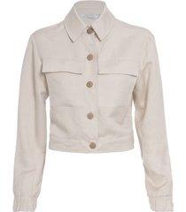 jaqueta curta em linho isabella florentino para oqvestir - bege