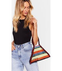 womens want bright on time beaded tote bag - red
