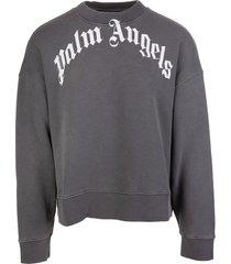 palm angels man dark grey sweatshirt with curved logo