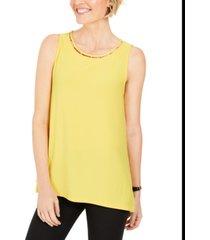 kasper neckline-cutout bead-trim top