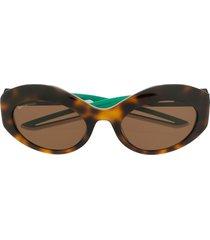 balenciaga eyewear hybrid oval sunglasses - brown