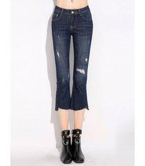jeans irregolari per le tasche di tasca dell'annata per le donne