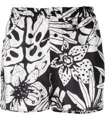 laneus black and white floral print shorts