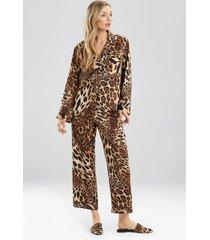 natori luxe leopard pajamas / sleepwear / loungewear set, women's, chestnut, size m natori