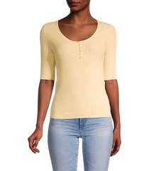 vince women's ribbed cashmere henley - yellow - size xxs