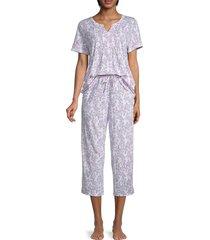 carole hochman women's 2-piece floral-print pajama set - white novel - size m
