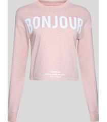 """blusão de moletom felpado feminino """"bonjour"""" rosa claro"""