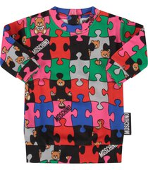 moschino multicolor dress with puzzle for baby girl