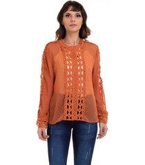 blusa kinara chiffon renda vazada marrom - marrom - feminino - poliã©ster - dafiti