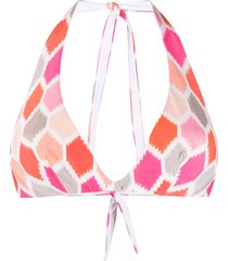 fisico v-neck geometric print bikini top - orange