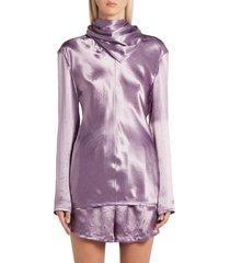 women's bottega veneta scarf neck washed satin blouse, size 10 us - purple