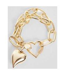 pulseira corrente coração ouro - u