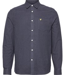 brushed cotton tweed check shirt skjorta casual blå lyle & scott