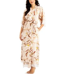 inc lace-trim floral-print long wrap robe, created for macy's