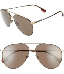 women's burberry 60mm oversize aviator sunglasses - gold/ black/ blue solid