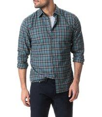 men's rodd & gunn bradeys sports fit plaid button-up shirt, size small - green