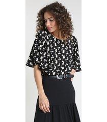 blusa feminina blusê estampada de margaridas manga ampla decote redondo preta