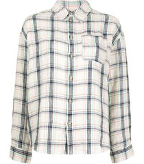 a.p.c. boyfriend check-print linen shirt - multicolour