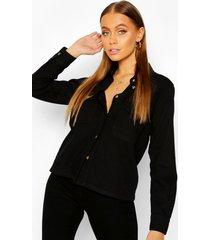 oversized mock horn button denim shirt, washed black