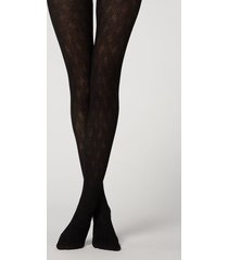 calzedonia crisscross pattern tights with cashmere woman black size 1/2