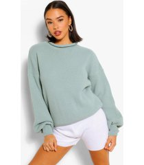 balloon sleeve oversized sweater, sage