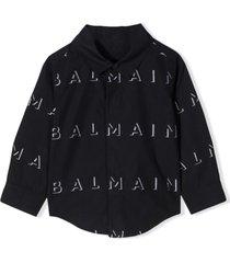 balmain black shirt with print