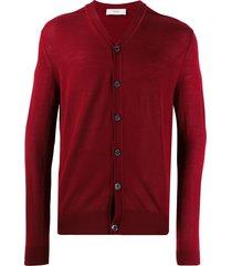 pringle of scotland slim-fit knit cardigan - red