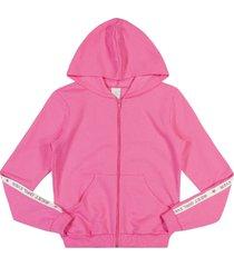 jaqueta lecimar tween em moletom felpado outono inverno rosa
