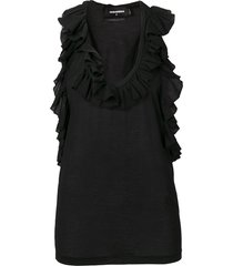 dsquared2 ruffled vest top - black