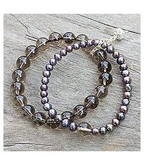 cultured pearl and smoky quartz stretch bracelet, 'iridescent sea' (thailand)