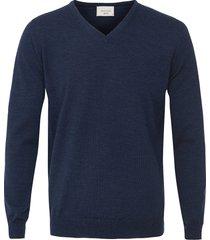 profuomo heren trui jeans v-hals merino wol