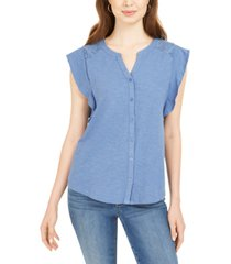 style & co eyelet sleeveless shirt, created for macy's
