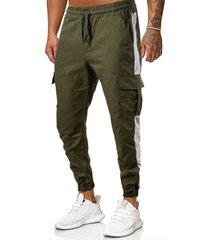 hombres monos de bolsillo multi de moda sueltos en forma casual cónica pantalones