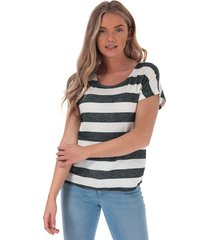 vero moda womens wide stripe t-shirt size 12 in black
