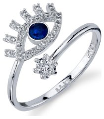 unwritten silver plated cubic zirconia evil eye wrap around ring