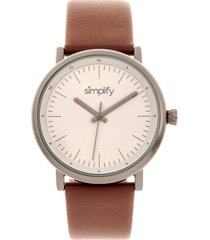 simplify quartz the 6200 grey case, genuine brown leather watch 39mm