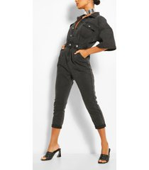 waist detail denim jumpsuit, washed black