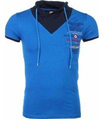 t-shirt korte mouw david copper italiaanse t-shirt - korte mouwen sjaalkraag - progettazione -